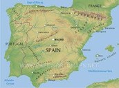 Geographical map os Spain