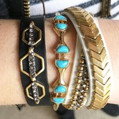 Terra Leather Bracelet, Turquoise Stone Bracelet, Gilded Path Wrap Bracelet