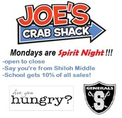 Every Monday is SMS Spirit Night at Joe's Crab Shack