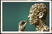 هذه صورة تعبر عن انسان ياخذ ادوية مسببة للنعاس والتي سيطرت على كل جسمه