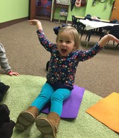 Addie helps us act out a story at Circle Time with her fabulous expressions.