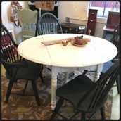 White Drop Leaf Dining Table: $275