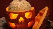 Carved Pumpkin exposed skull
