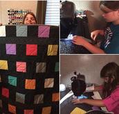 Ms. Vezurk helped her niece, Lauren, sew a quilt that won grand champion already at the fair!