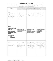 Digestive System Tic-Tac-Toe