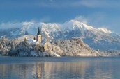 This is Lake Bled in the winter