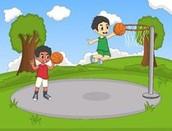 En viernes yo iba al parque con mis amigos y jugamos baloncesto por tres horas.
