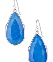 Sentiment Stone Earrings-Blue and Silver