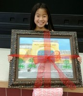 Maddie Chung with the painting she did for Mr. and Mrs. Hosp.