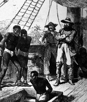 Slaves being loaded into hold of slaving ship.