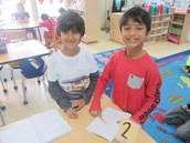 Students collaborate on a math game