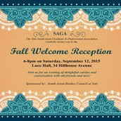 SAGA Welcome Reception :  12th September, 2015 (Saturday)