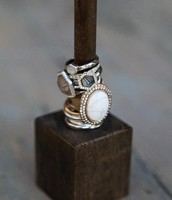 Meridian Stacking Rings | Howlite + Pavé Oval Ring