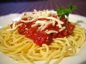 spaghetti and mairanara sauce