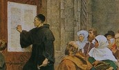 Martin Luther with the 95 Theses