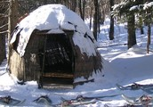 ojibwe wigwam in the snow