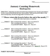 January Counting Homework