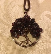 Deep Red Garnet Happy Heart Tree of Life Pendant