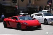 2015 Lamborghini Gallardo red with black rims.