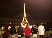 HBC students and the Eiffel Tower