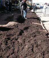 Citizens placing soil