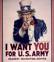 Ad they put up to recruit men in the army