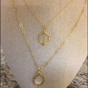 SOLD! Fortuna Stone Pendant Necklace- Gold $35