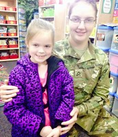 PFC Tessa Kramer surprised Desirai by visiting her class last week!