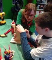 Landon building his snowman