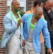 Dwayne johnson& his stunt double.
