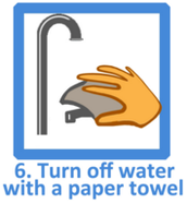Turn off water with a paper towel