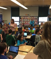 Fifth grade was helping their second grade buddies use Google Slides