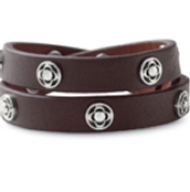 Clover Double Wrap Bracelet - Brown/Silver