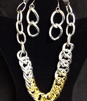 Chunky Gold and Silver Necklace / Earring Set