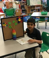 Arush built a picture frame and flower picture
