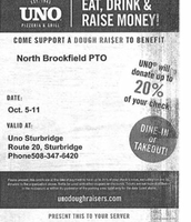 Grab a quick bite at Uno's and NBPTO will reap the benefit!