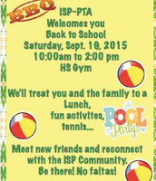 ISP - PTA Welcome BBQ. Sautrday, September 19th