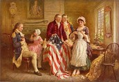 Betsy Ross sewing the American Flag