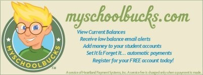 Click the link to use Myschoolbucks and pay for school lunch accounts online for your children.