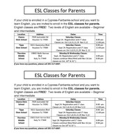 ESL Classes for Parents