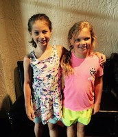 Syd and her friend Pom Pom excited to go to camp.