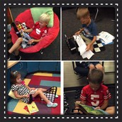 Kindergarten students taking a reading break
