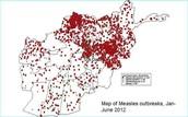 Map of Measles Outbreaks in Africa