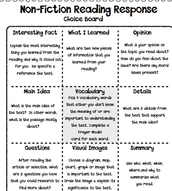Nonfiction Reading Response Choice Board