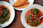 Tomato, Chickpea and Spinach Soup