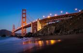 Golden Gate Bridge lighting up at night