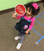 "Grace and her ""Stop "" sign during our game."