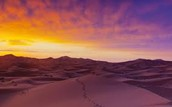 sun down in Sahara desert