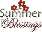 Reflection Corner:  SUMMER BLESSINGS