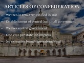 What Were the articles of confederation?